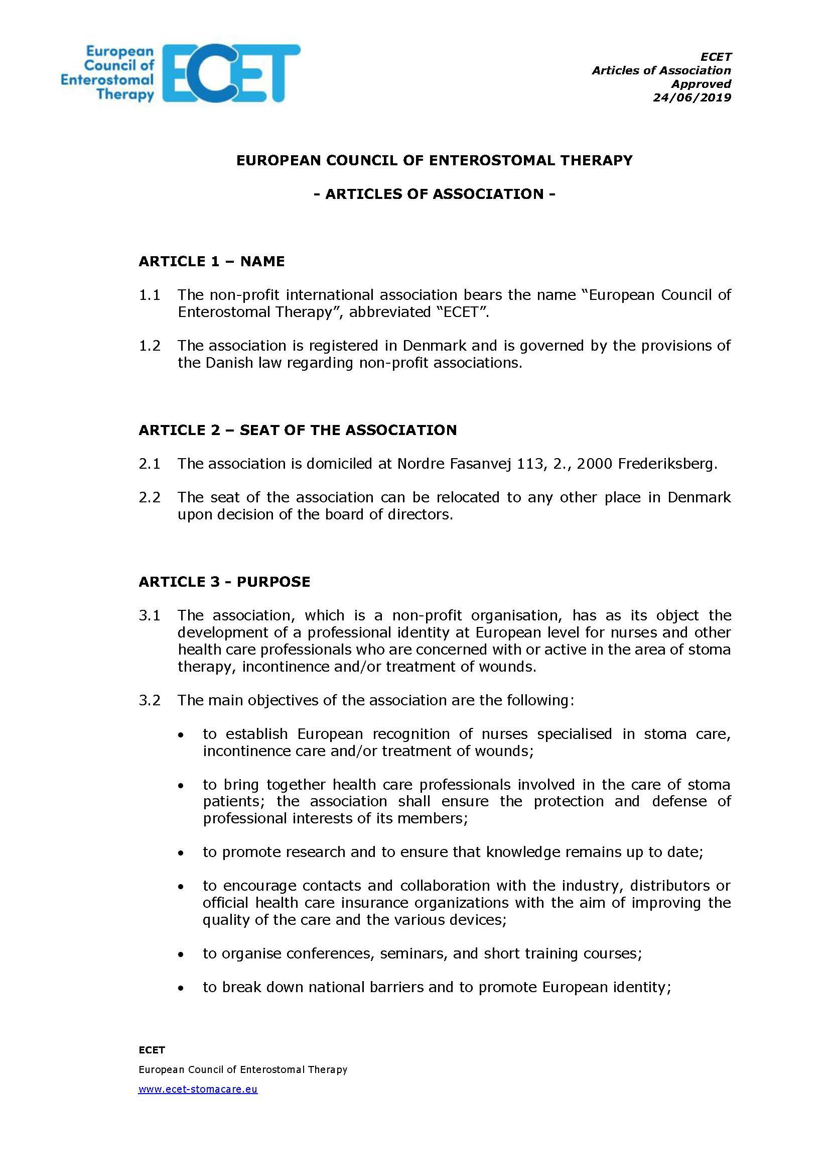 Download ECET Articles of Association